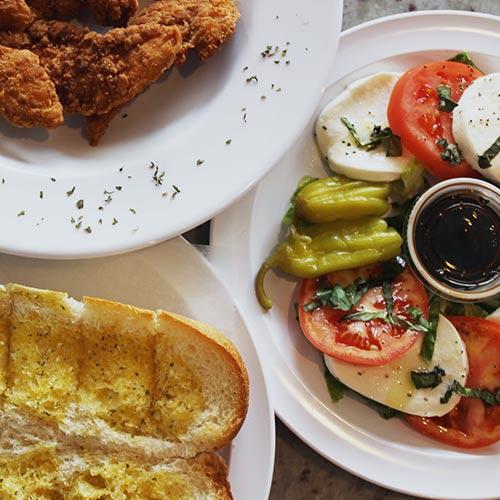 Salads and Garlic Bread