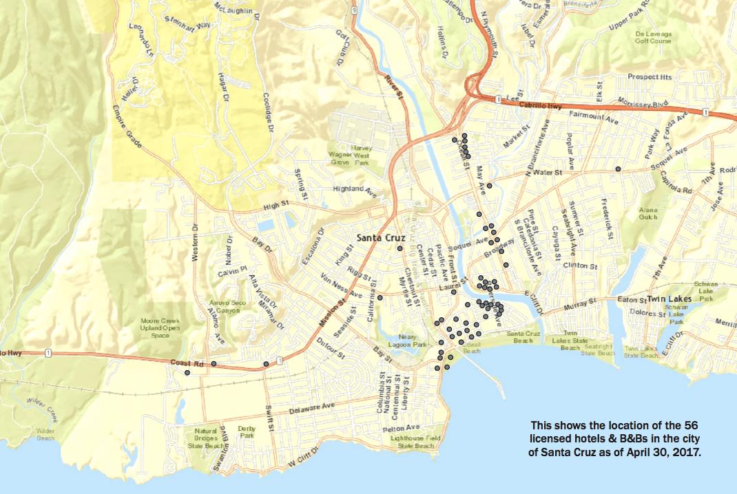 Map Of 56 Hotels In Santa Cruz Ca