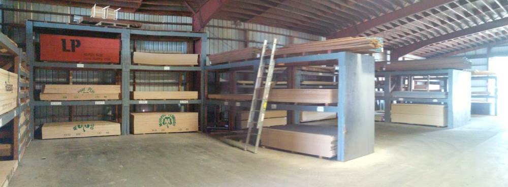 Plywood sheets in racks