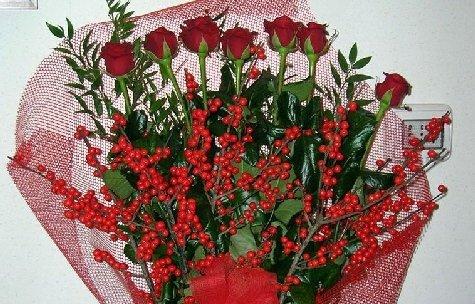 Mazzo di rose rosse.