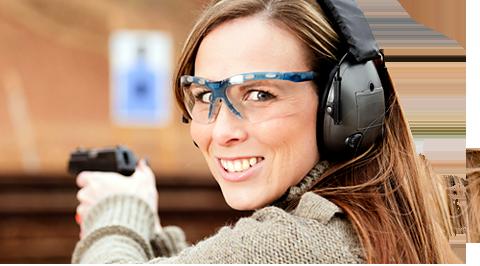 Woman at firearm shooting range