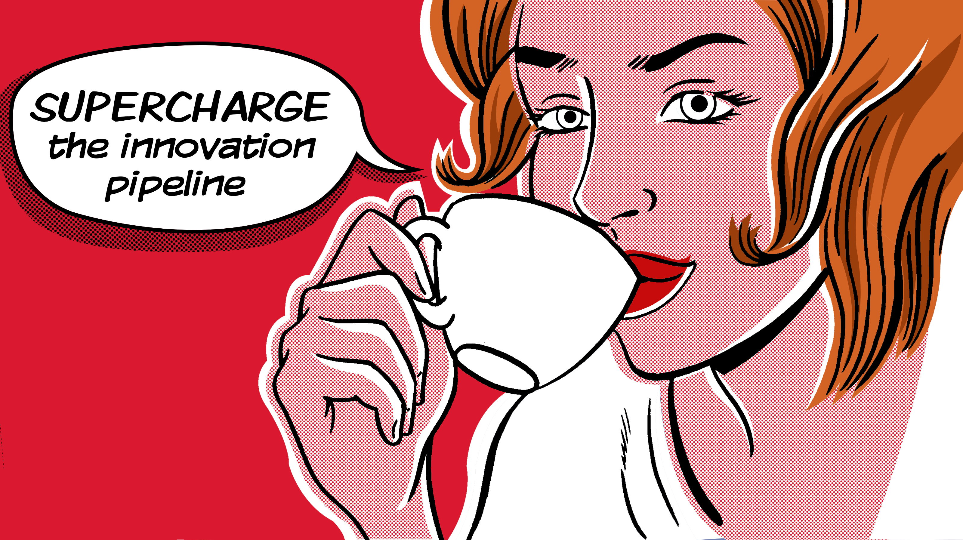 Cartoon drawing of a women drinking coffee