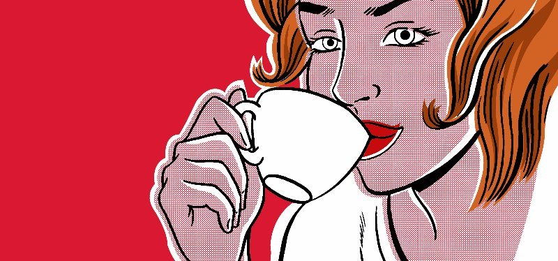 View of a women drinking coffee