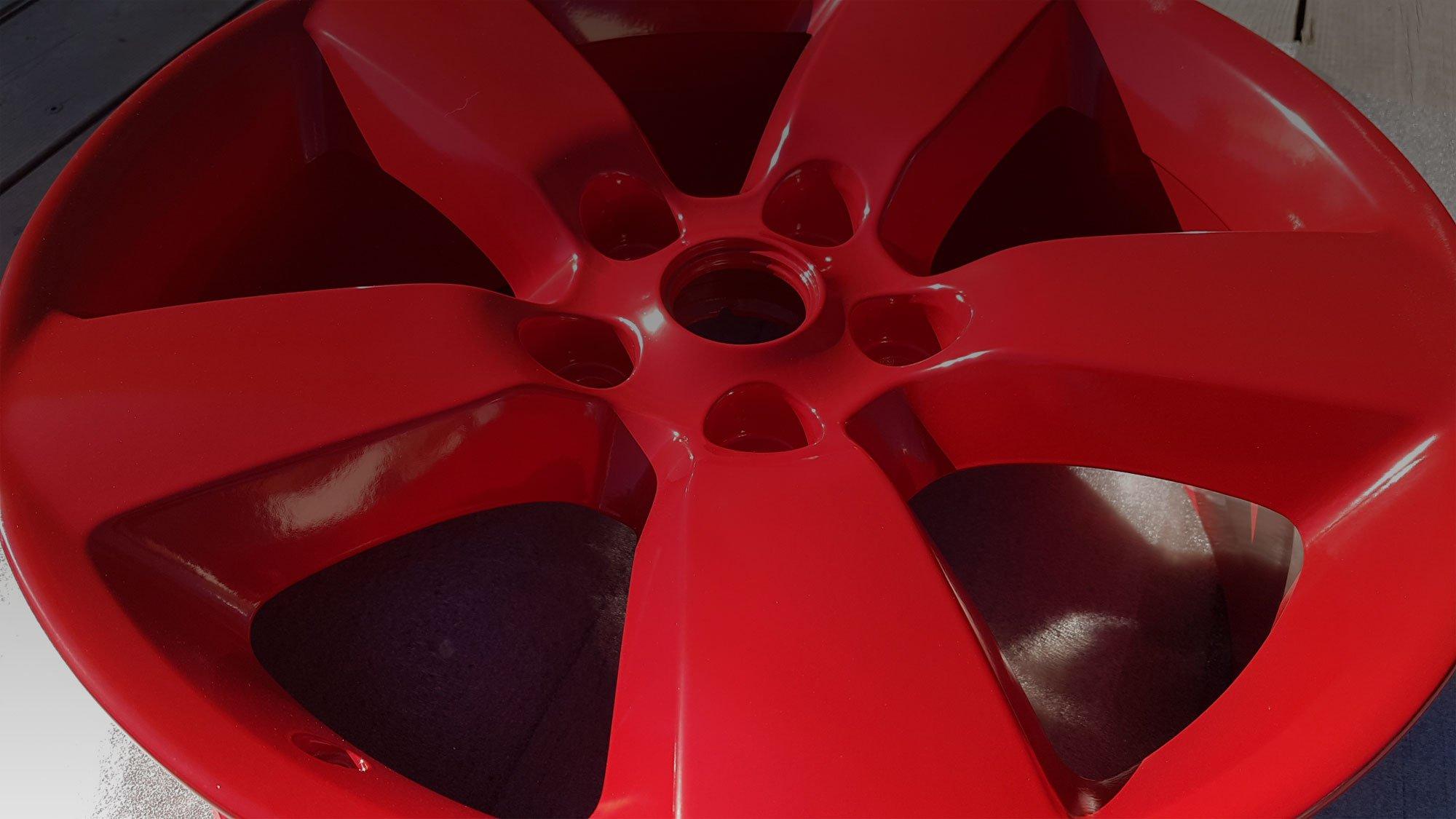 Wheel powder coated red