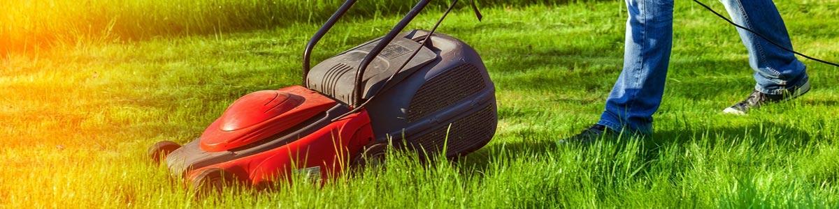 ken matthews auto mower person mowing the lawn