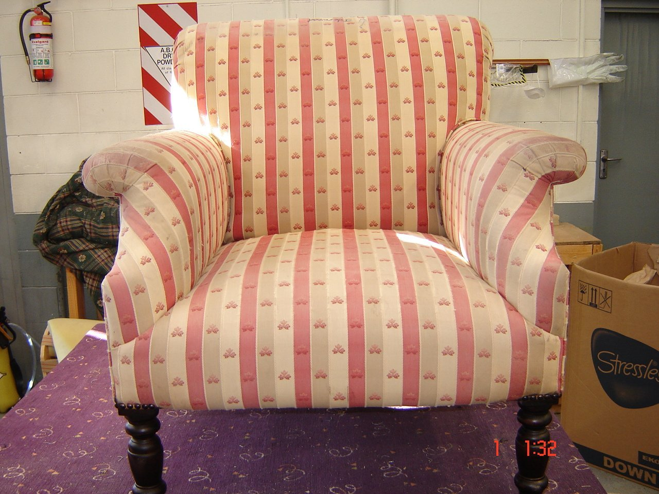 Before view of the upholstery work