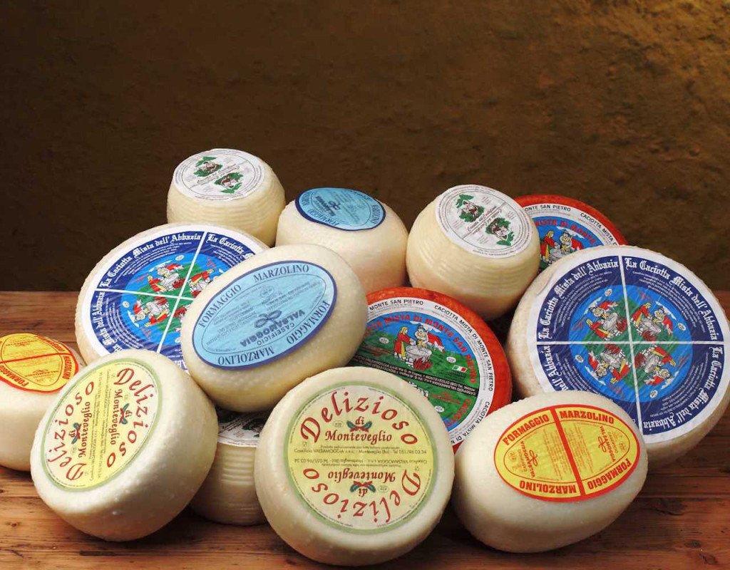 Forme di diverse tipologie di formaggi