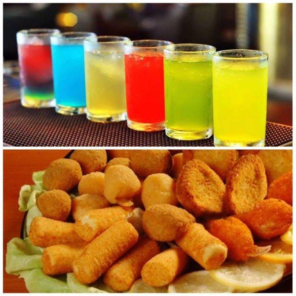 ottimi cocktails accompagnati da fritti