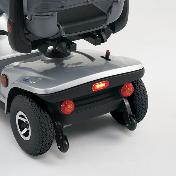 close-up of a grey scooter