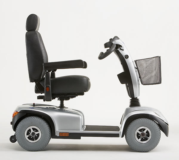 Grey scooter seen from the side