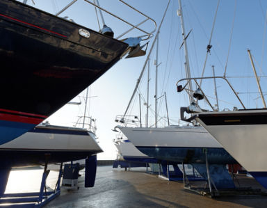 Yachts in the harbor ready for repair