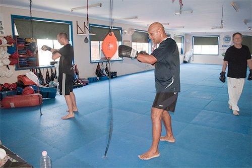 Kick boxing training in progress