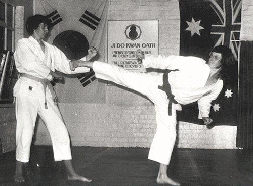 Taekwondo training classes in progress