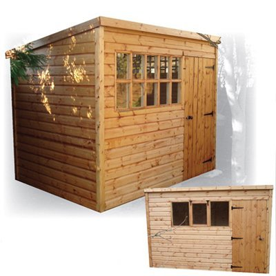 standard penta pent styled roof fully tongue and grooved shiplap shed ledged and braced door including a lock and key with classic or georgian glazed - Garden Sheds Reading