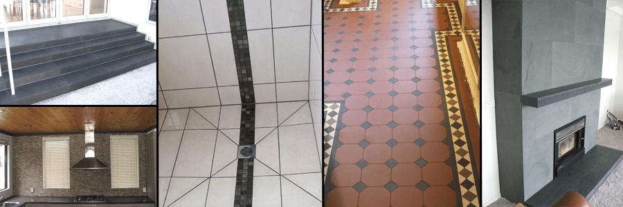 Montage of work by tiler in Otago