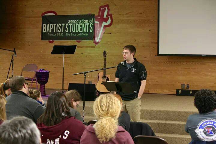 director speaking to abs students at retreat