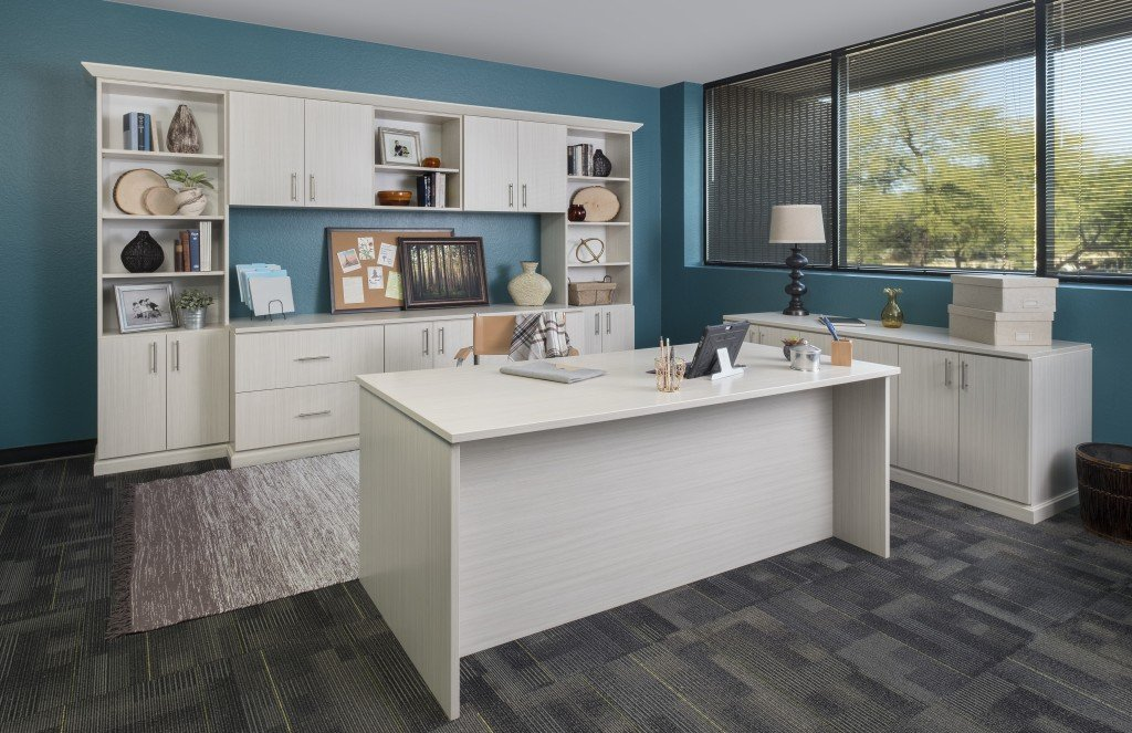 Custom home office cabinets with arctic finish