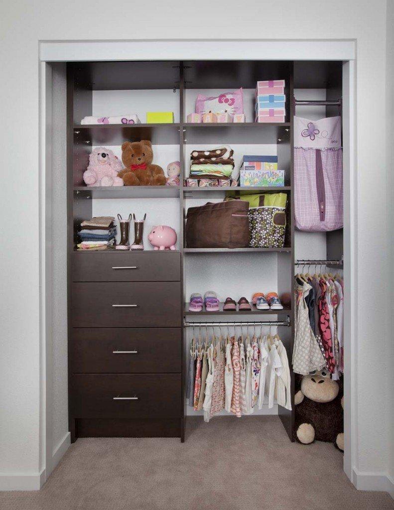 Custom Childrenu0027s Closet System With Chocolate Pear Finish