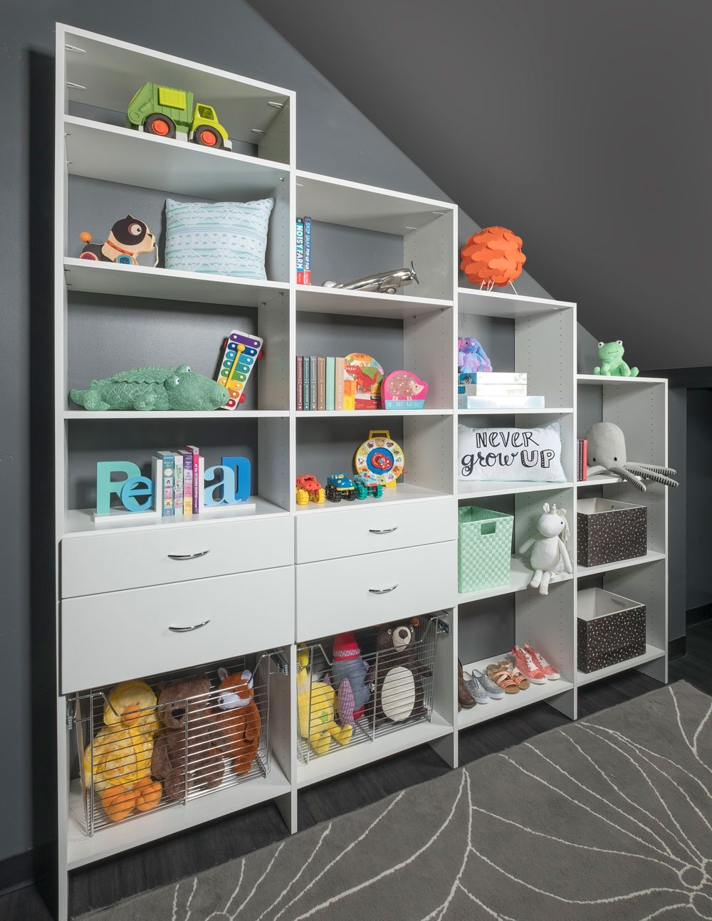 Custom Kids Closet System With White Finish
