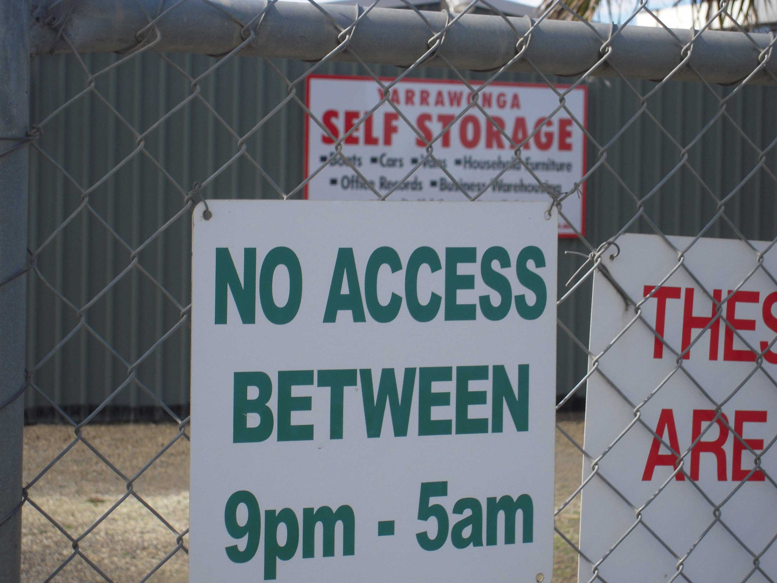 Opening hours of our secure storage units in Yarrawonga