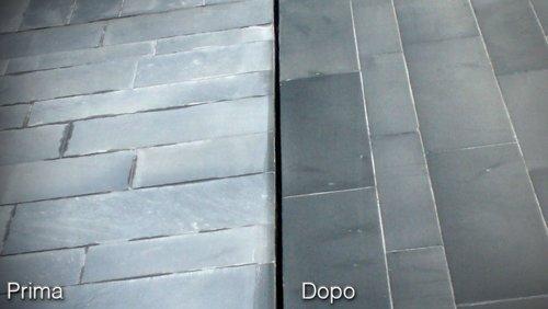 prima e dopo pavimento in pietra