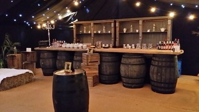 Oak barrel bar by Keeley's Kitchen in Surrey