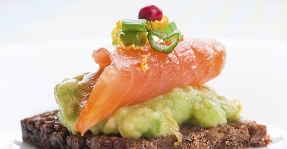 Smoked salmon and avocado canape by Keeley's Kitchen in Surrey