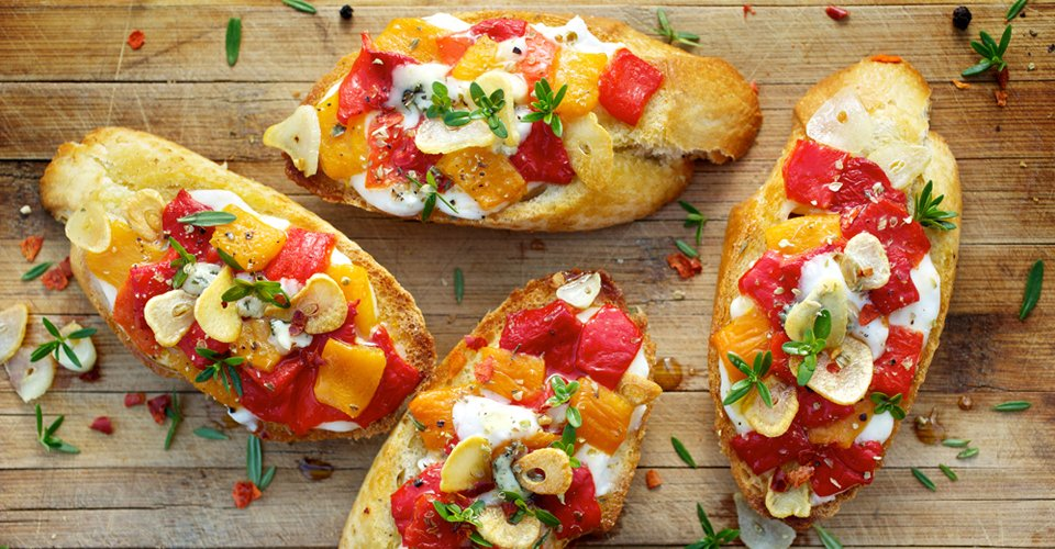 Bruschetta with peppers and cheese for an office lunch by Keeley's Kitchen in Surrey