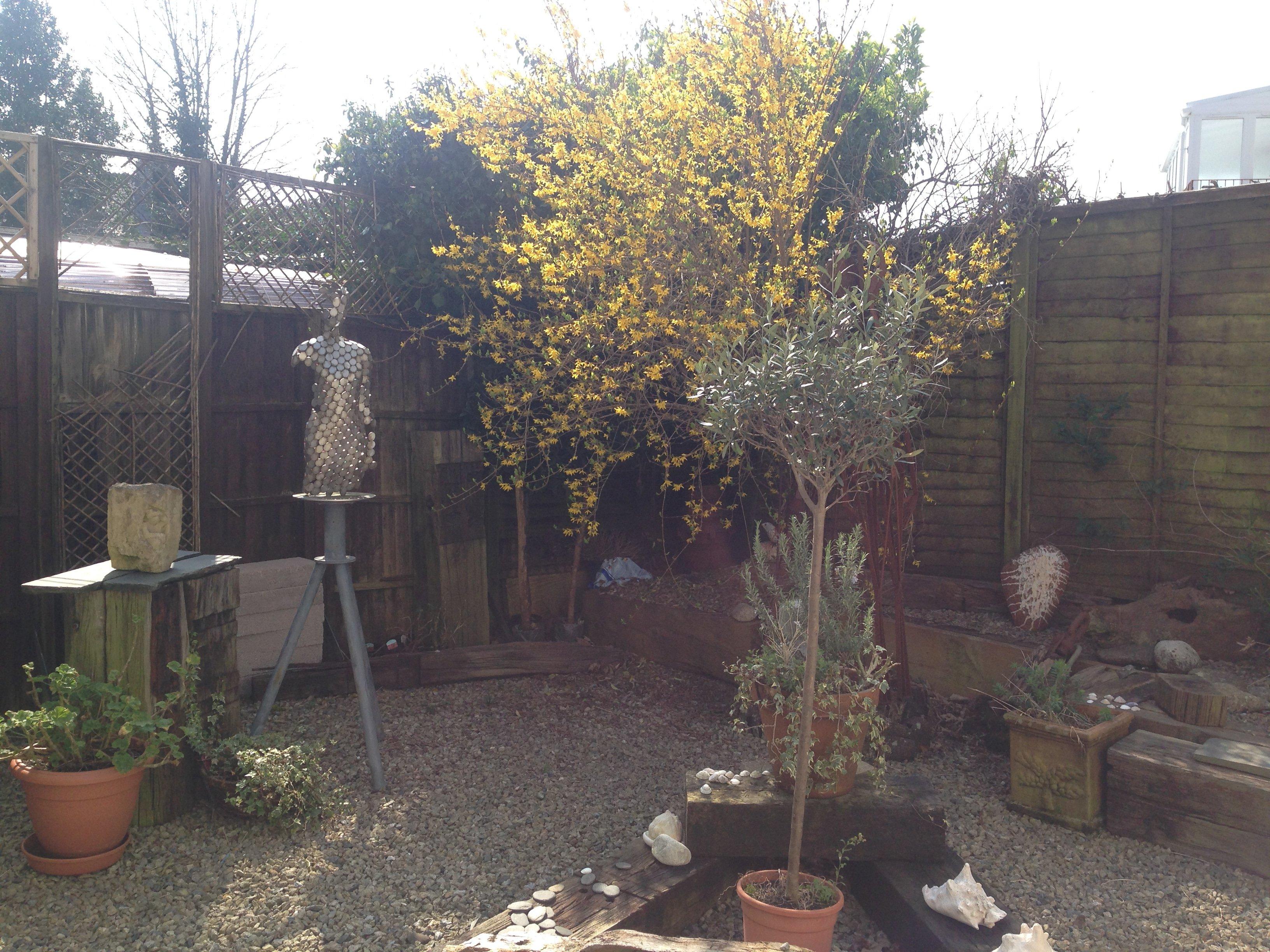 sculpture in the garden area