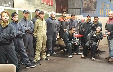 indoor paintball skirmish sports group of people ready to play
