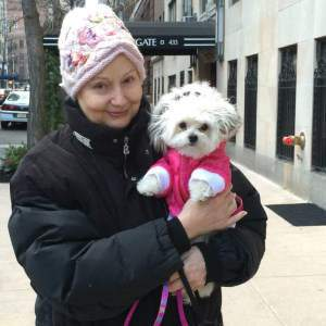 woman with Maltipoo dog