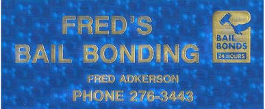 Freds Bail Bonding business card