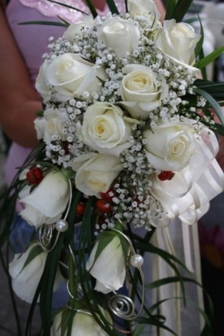 bouquet con rose e perle