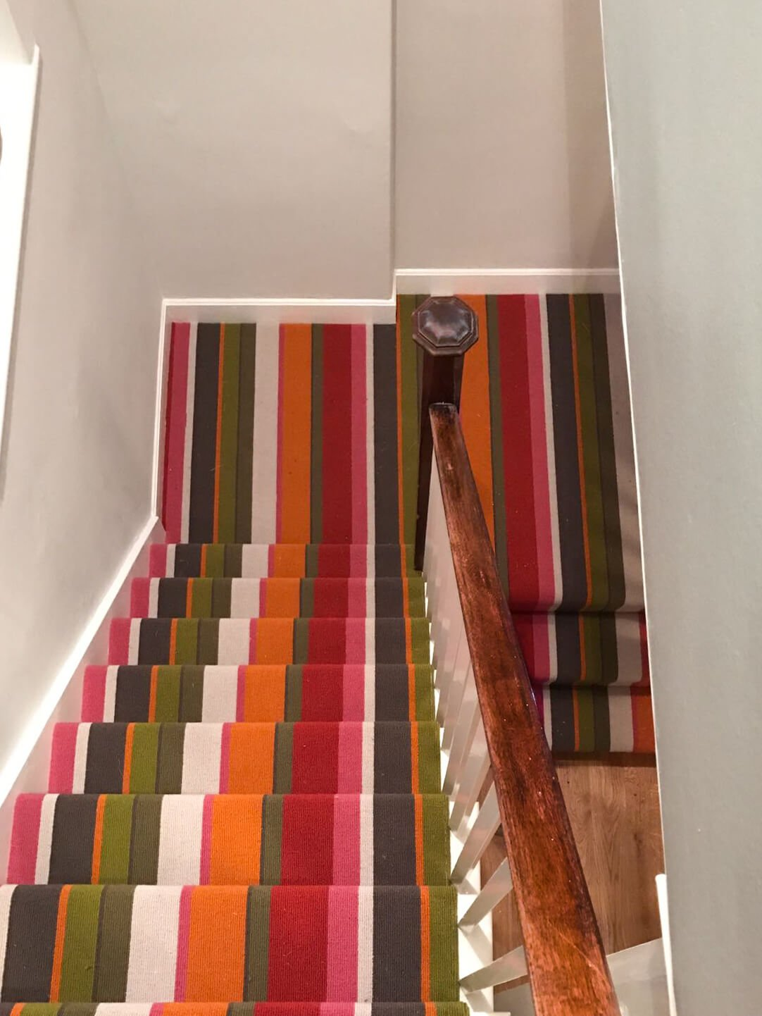 Stripey carpet on stairs
