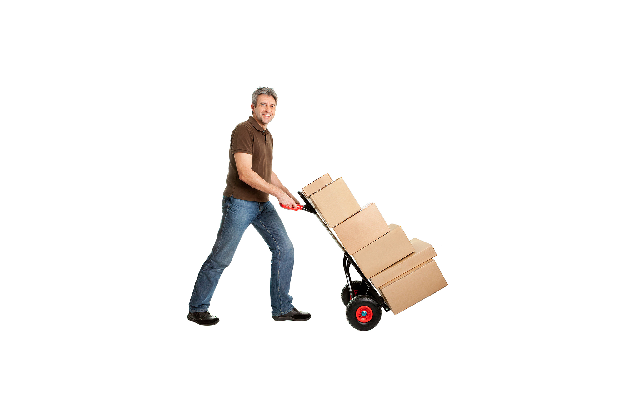 Man using trolley to carry boxes