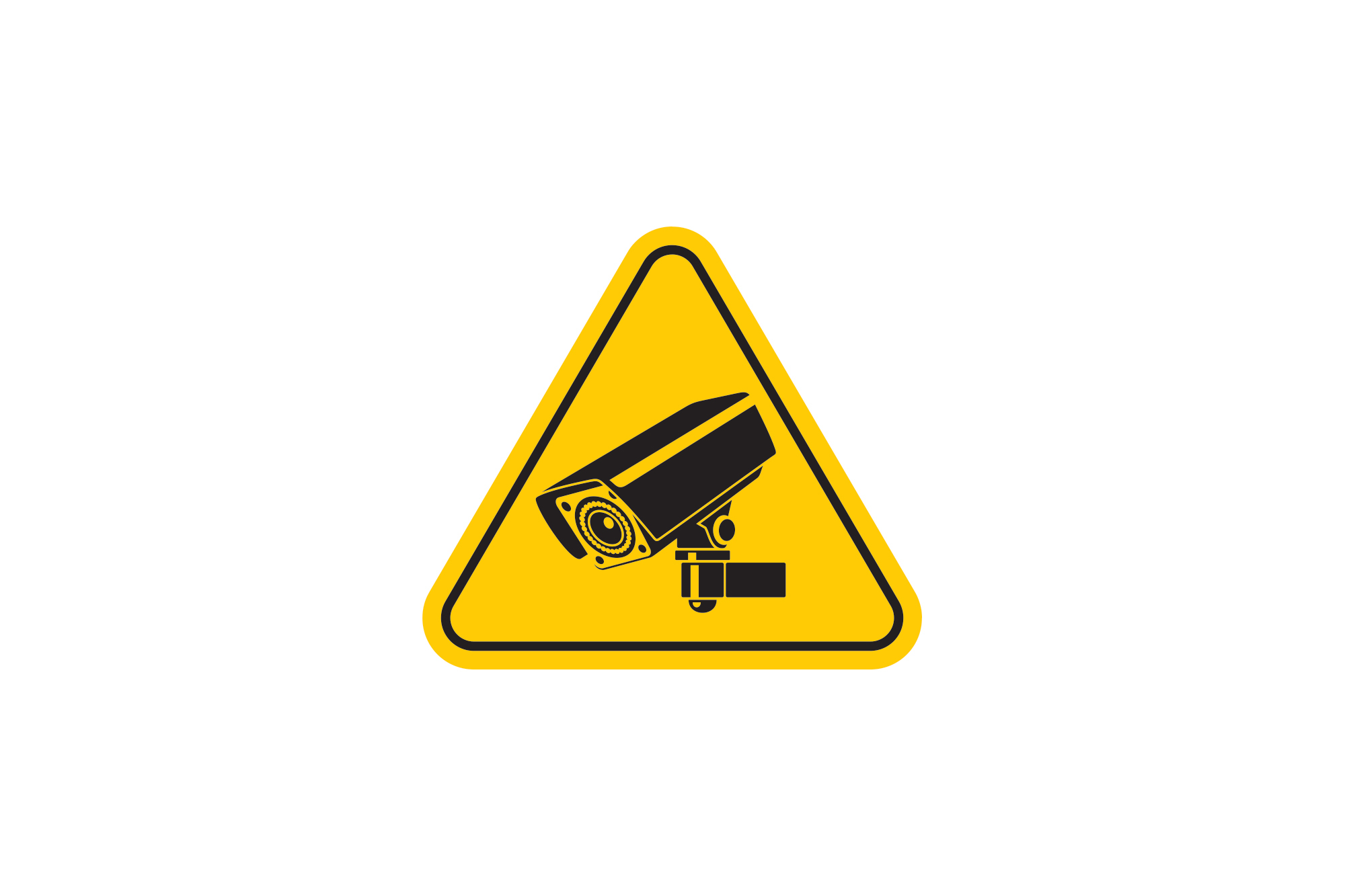 Yellow sign with security camera