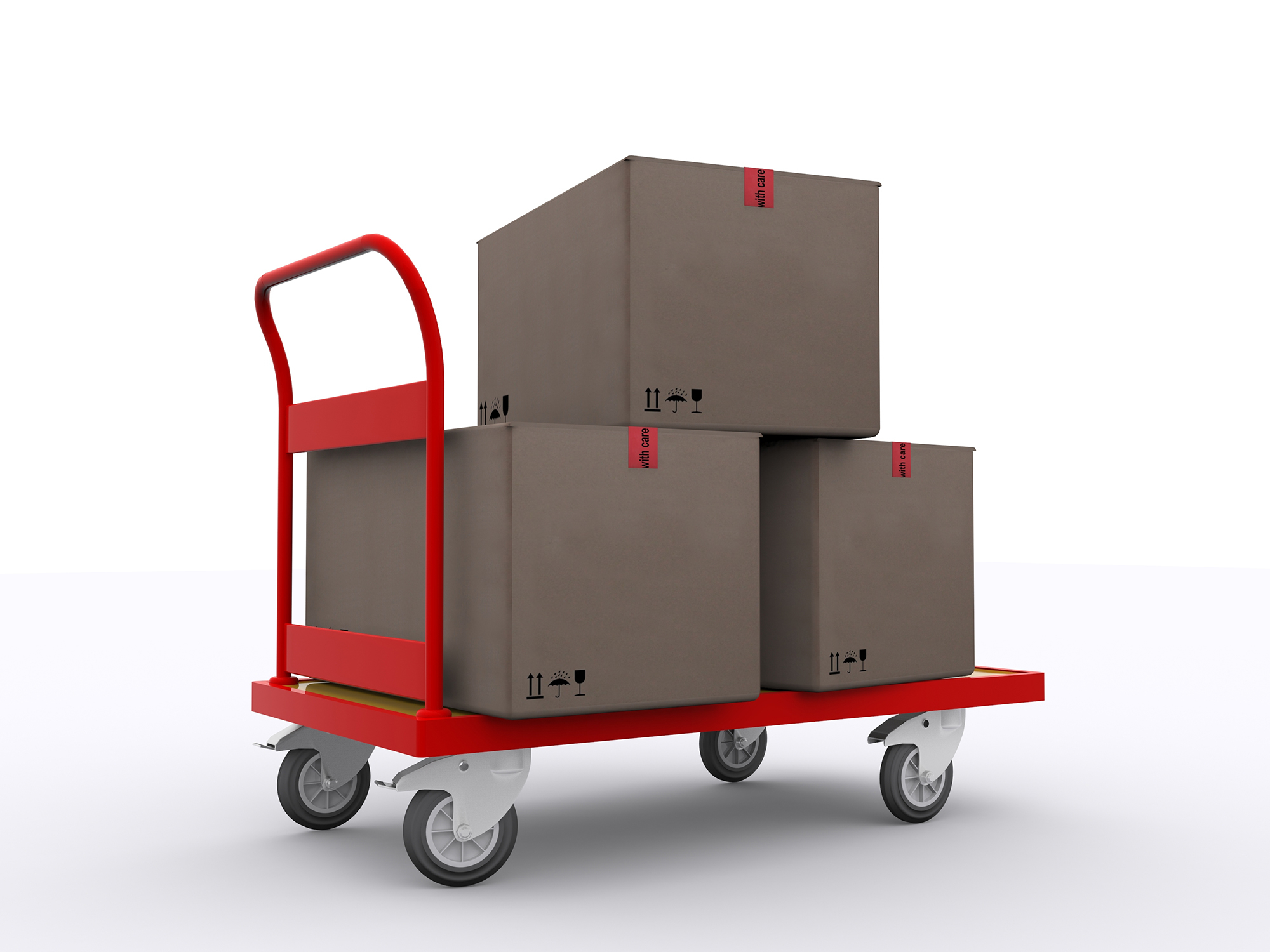 Red cart with 3 boxes