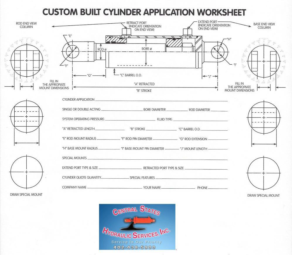Custom built cylinder application worksheet from Central States Hydraulic in Lincoln, NE