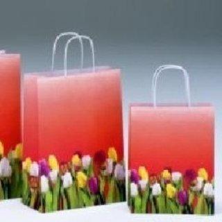 shopper di carta con fantasia tulipani