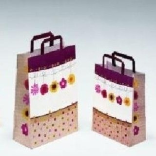 shopper in carta decorata con maniglia patinata