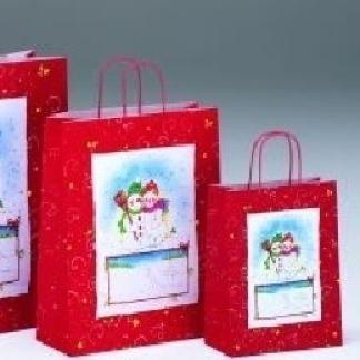 borse natalizie con pupazzi di neve