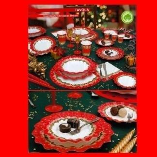piatti rossi natalizi fantasia