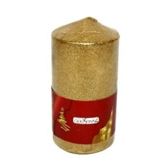candela di natale grossa dorata