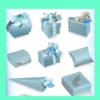 scatole di cartone vari forati azzurro