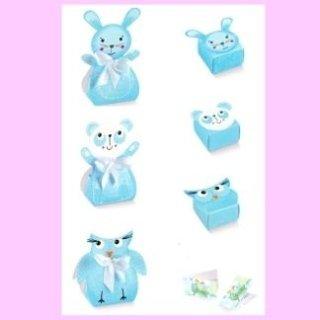 scatole di cartone animaletti azzurro