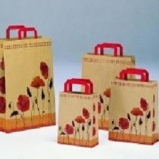 borsa in carta con decorazione floreale