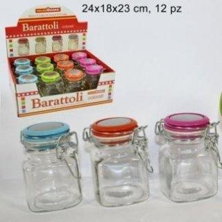 barattolo di vetro con tappo colorato