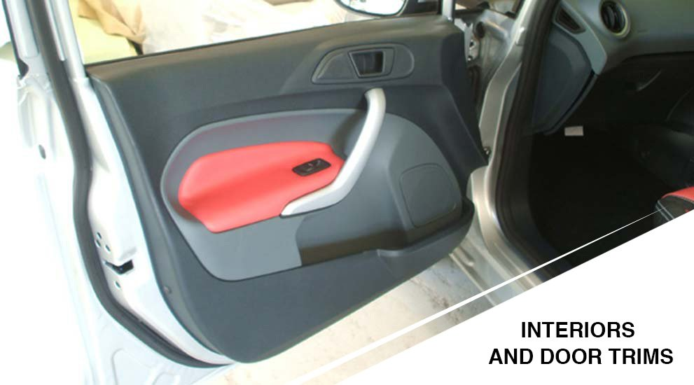 red and black interiors and door trims