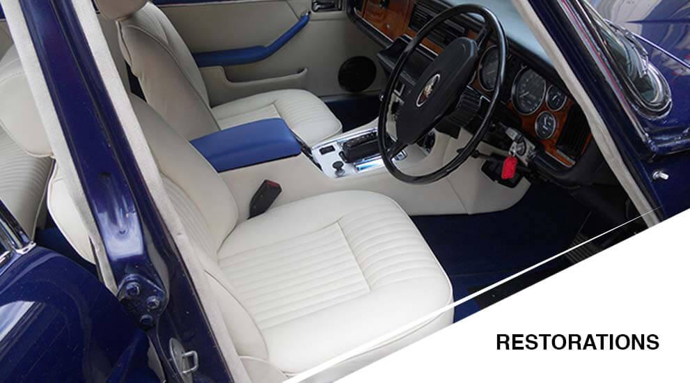 blue and white car restaured
