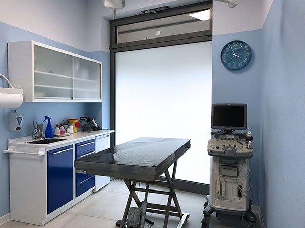 un lettino in acciaio e la strumentazione in un ambulatorio veterinario